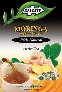 DALGETY MORINGA with GINGER HERBAL TEA. HEALTHY and DELICIOUS HERBAL INFUSION. 20 TEABAGS PER CARTON. 100% Natural ingredients. Real Caribbean Tea. Product of the UK.