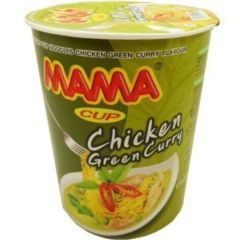 Mama Instant Cup Noodles Chicken Green Curry Flavour Thai Original Spicy Net Wt 60 g (2.11 Oz) x 9 cups by MAMA