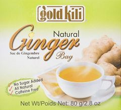 Gold Kili Natural Ginger Bag Sachets No Sugar Added Caffeine Free (20 Sachets) 80g