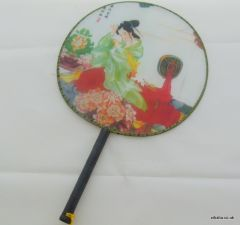 Traditional Chinese Culture Painting Hand Fan - Beauty make up with Mirror