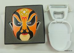 Orange Chinese Opera Mask Multi Function Peeler Bottle Opener Fridge Magnet