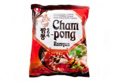 Nong Shim Cham Pong Champong Squid Spicy Noodle Soup 124g (Pack of 5 packs)