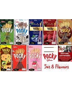 Set of 8 (8 Boxes) Flavours Matcha green tea,Cookies & Cream, Strawberry, Chocolate, Fruity Blueberry, Fruity Strawberry, Choco rich and Choco Banana by Pocky