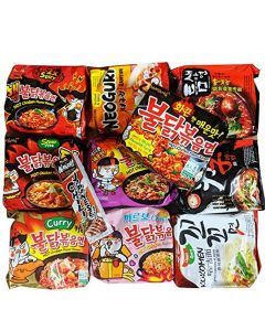 Korean Assorted Top Spicy Ramen Noodle Challenge (Pack of 10) with Hot Sauce