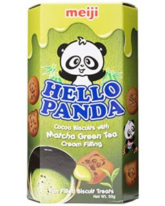 Meiji Hello Panda Matcha Green Tea Cream Filled Biscuits, 50 g