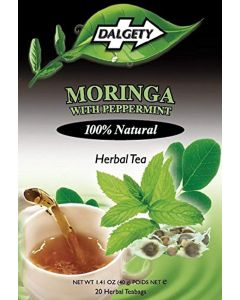 DALGETY MORINGA with PEPPERMINT HERBAL TEA. HEALTHY REFRISHING HERBAL TEA INFUSION with DIGESTIVE AIDING PROPERTIES. 20 TEABAGS PER CARTON. 100% Natural ingredients. Real Caribbean Tea. Product of the UK.