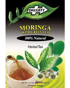 DALGETY MORINGA with GREEN TEA. DELICIOUS HERBAL INFUSION. 20 TEABAGS PER CARTON. 100% Natural ingredients. Real Caribbean Tea. Product of the UK.
