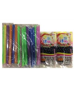 Wufuyuan 2 Packs Tapioca Pearl 250G with Straws (2 packs + 50 Straws)
