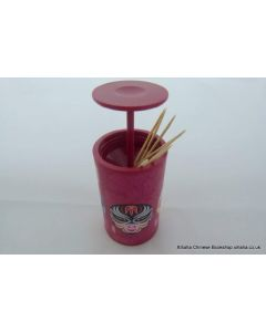 Red Chinese Opera Masks Design toothpick holder (press open)