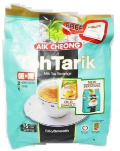 Aik Cheong 2in1 Instant Black Tea and Creamer Teh Tarik Milk Tea Beverage 25g x 15 sachets (375G)