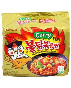 SamyangFire Hot Curry Flavored Chicken Ramen Noodles Pack of 5, Korean Ramen Noodles Curry x 5 pk Regular Bag Gold