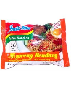 Indomie Instant Fried Noodles Spicy Beef (Rendang) Flavor for 10 Bags by Indomie